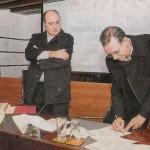 Entrega de manuscrito de El Obelisco a la Casa Museo Pérez Galdós con F. Landín, M. Trapero, R.M. Quintana. 2012.