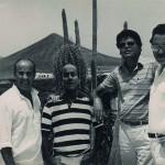 Lázaro Santana - Con César Manrique, Fernando y Vicente Llorca, Lanzarote 1977